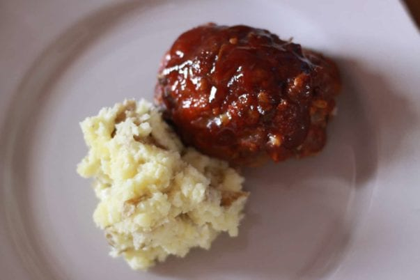 Mini-meatloaf with Parmesan smashed potatoes