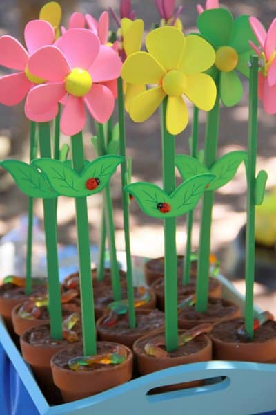 "a garden birthday party with low sugar ""dirt cups"": happy 2nd birthday phoebe!"