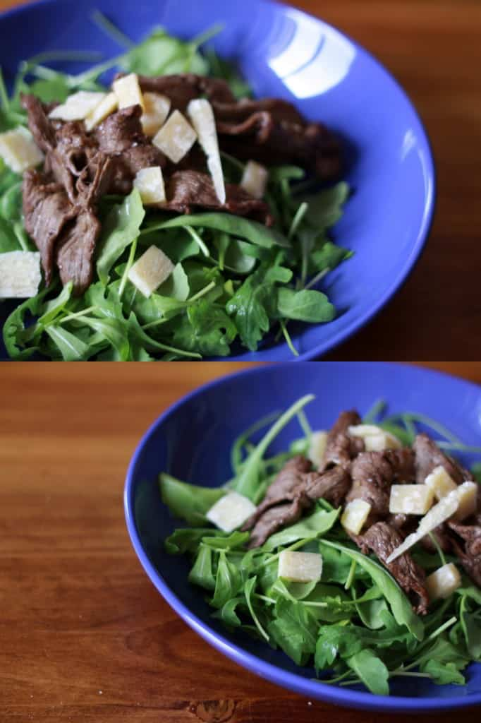 Straccetti, arugula salad with sizzling strips of steak and Parmesan cheese