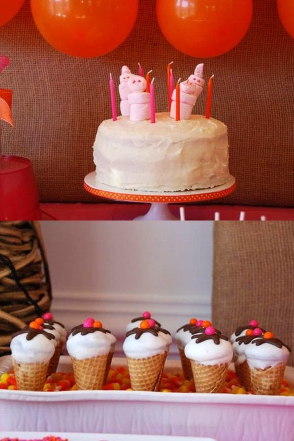 Sweet Shop Birthday Party cake and ice cream cupcakes