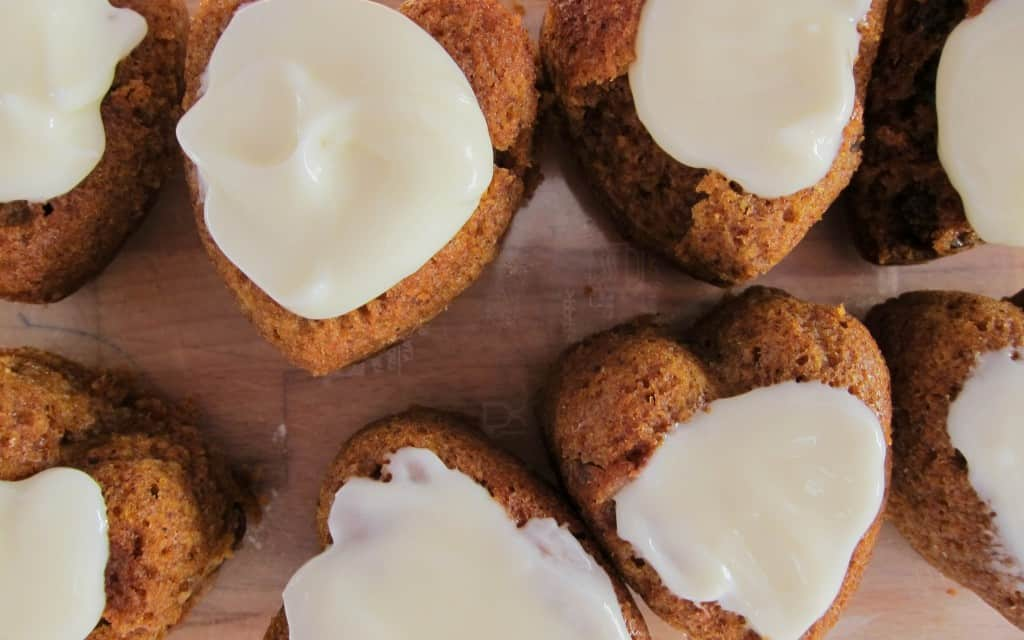 Spice muffins with cream cheese frosting…and a secret ingredient