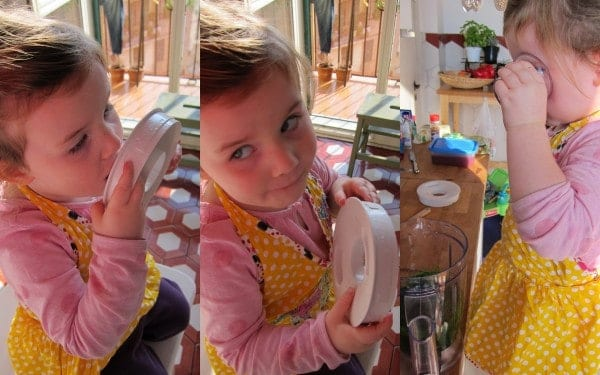 Phoebe helping with the blender