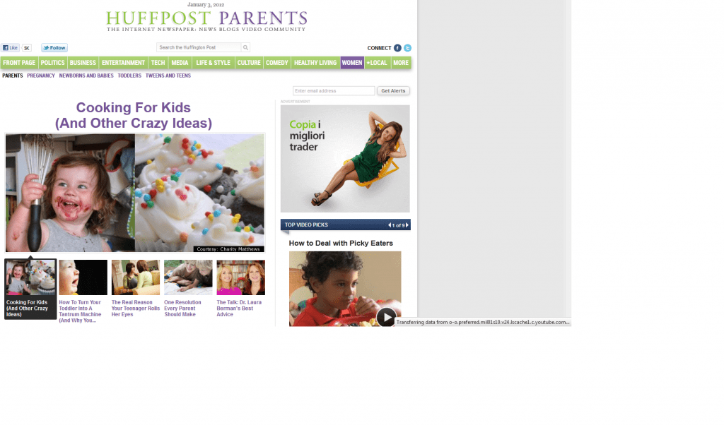 New column on Huffington Post: Cooking for Kids (and Other Crazy Ideas)