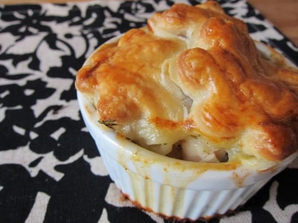 mini chicken pot pie with flowers