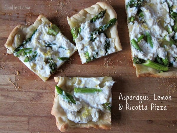 Pizza with asparagus, ricotta and lemon