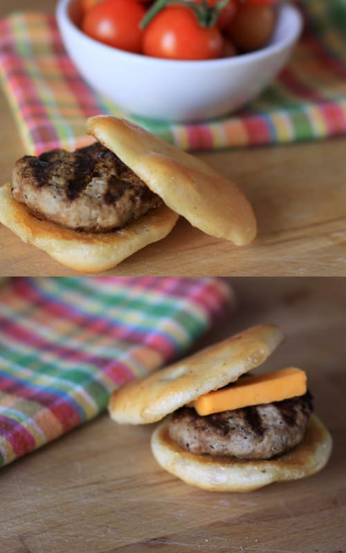 turkey burgers with and without cheese
