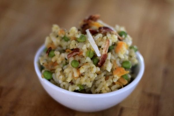 Baked risotto with bacon and peas