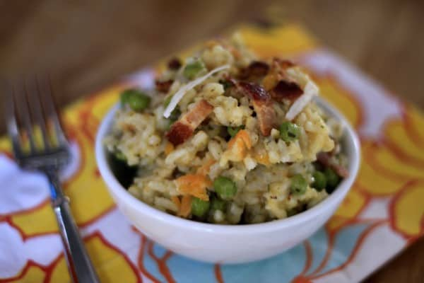 Risotto with bacon and peas