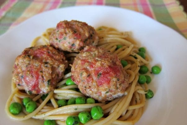 Turkey sausage meatballs and easy pasta with peas