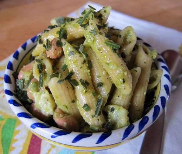penne pasta with pesto and beans