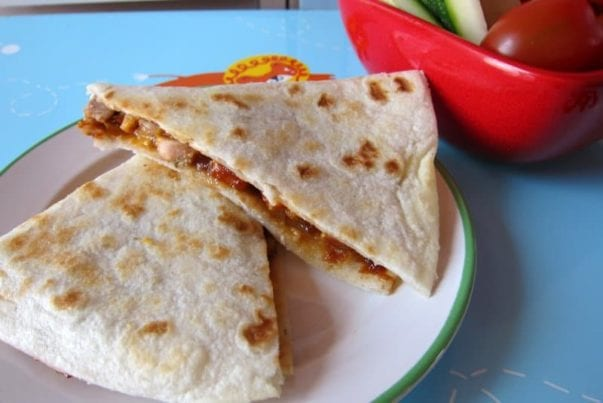 BBQ pork & cheese quesadillas