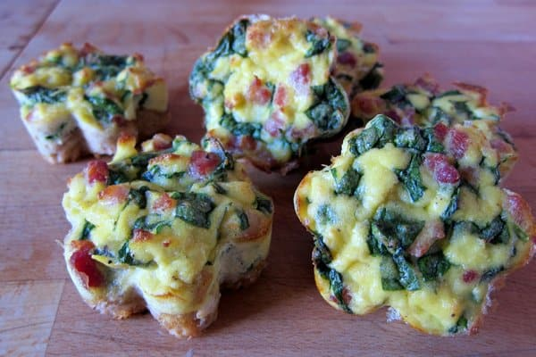 Egg, spinach and ham breakfast cups