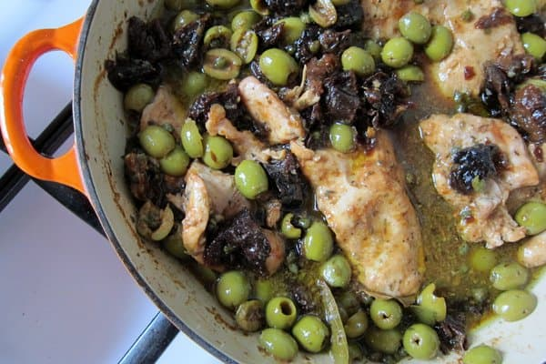 Chicken Mirabella: chicken with olives & prunes