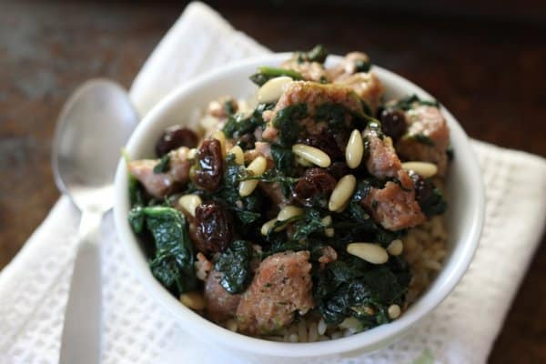 Sausage & spinach with raisins, pine nuts & rice