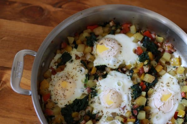 Eggs and everything (pancetta, spinach, potatoes and peppers)