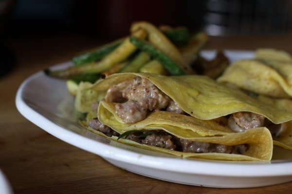 Crepes with sausage, mushrooms and cream
