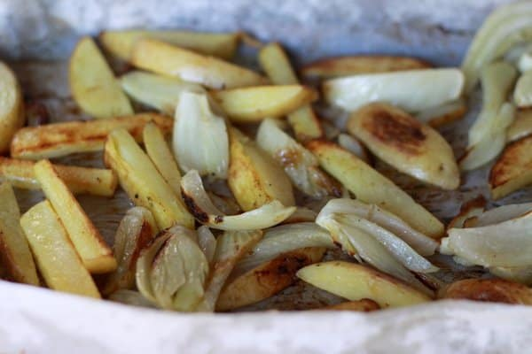 Roasted fall vegetables: potatoes and fennel