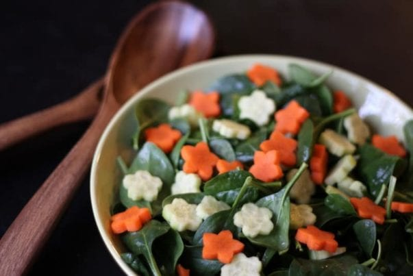 kid-friendly spinach salad with carrots and cucumber (a 101 cookbooks makeover)