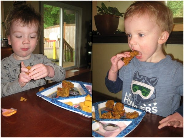 Muffin Madness Is On: Caleb and Levi (both 2) casting a vote for Easy Peasy Sweet Potato Muffins
