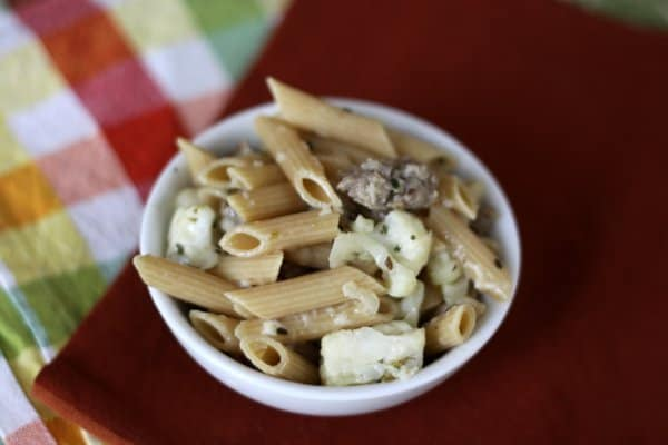 easy penne pasta with cauliflower, sausage & parmesan cheese