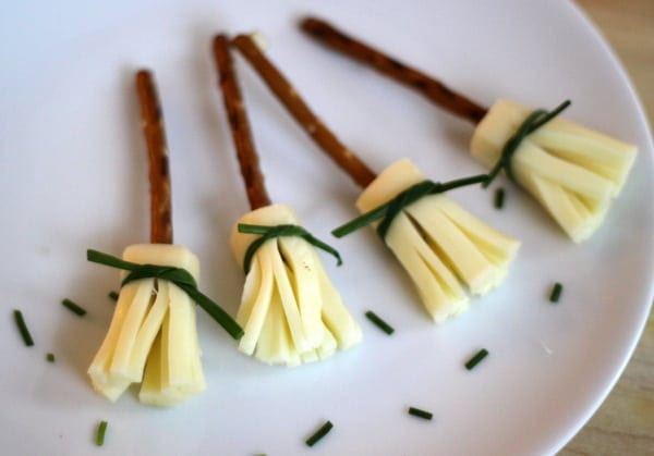 String Cheese Witches' Brooms, a Healthy Halloween Treat