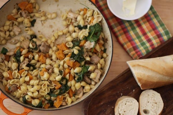 spicy pasta with chicken, spinach and goat cheese