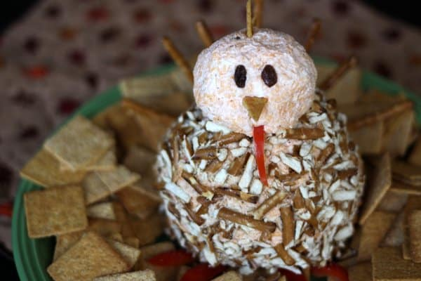 turkey shaped cheese ball for kids