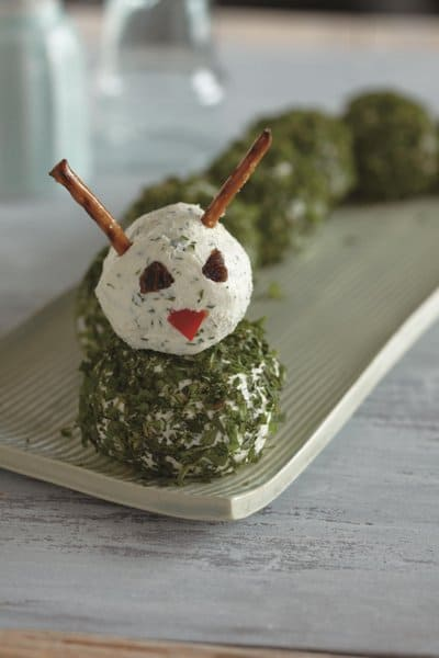 herbed caterpillar, a cheese ball recipe for kids