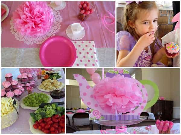 a pink tea party birthday theme, perfect for a 4th birthday party