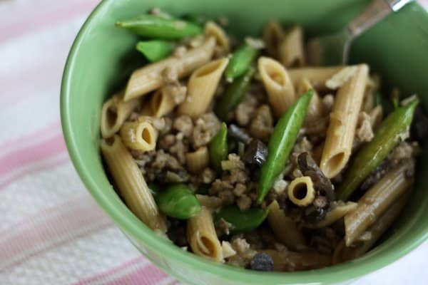 whole wheat penne with sugar snap peas & pork