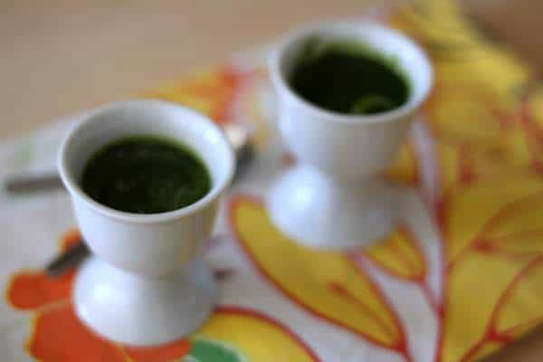 a little shot of spinach, the best way to start dinner!