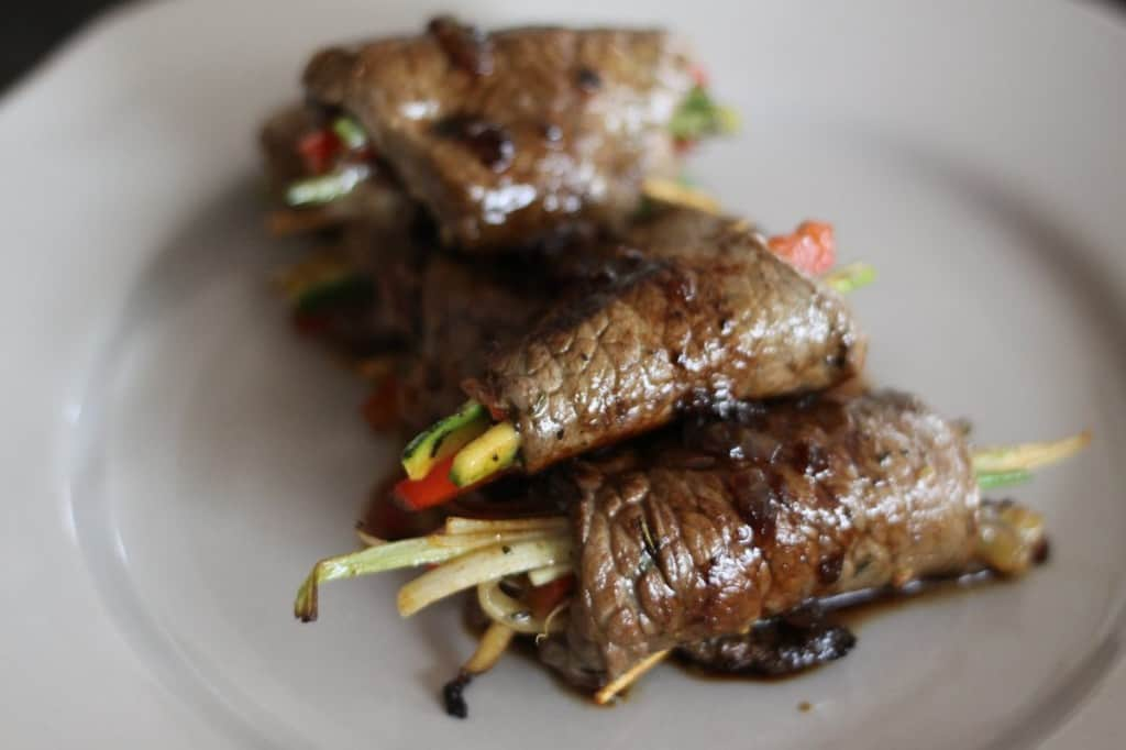 Beef & vegetable roll-ups with balsamic glaze made a little simpler