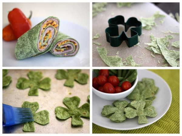 spinach wraps 2 ways for st. patrick's day