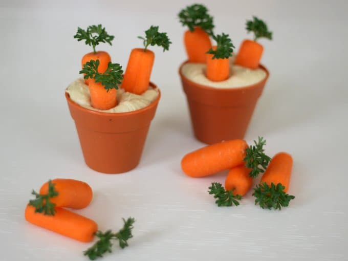 baby carrots growing in spring pots, foodlets
