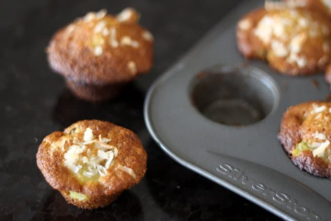 coconut pineapple mini muffins in pan, healthy muffins for kids, foodlets