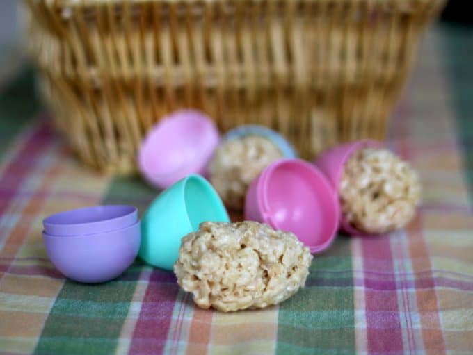 rice krispies treats in plastic eggs for easter, foodlets.com