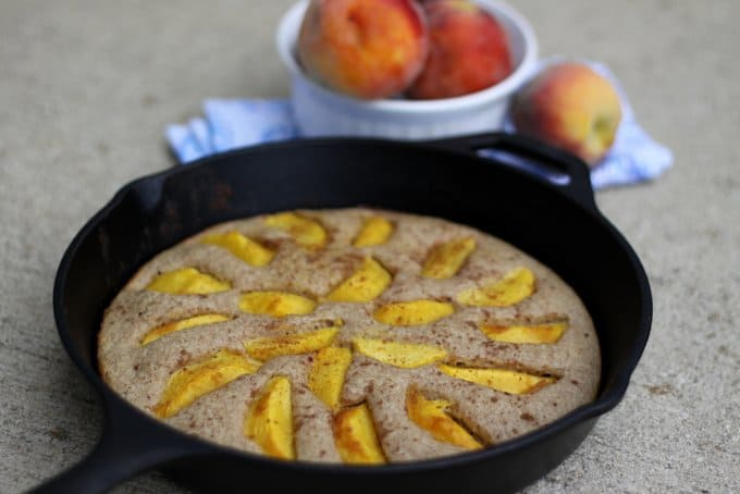 Whole-Wheat Baked Pancake with Fresh Peaches