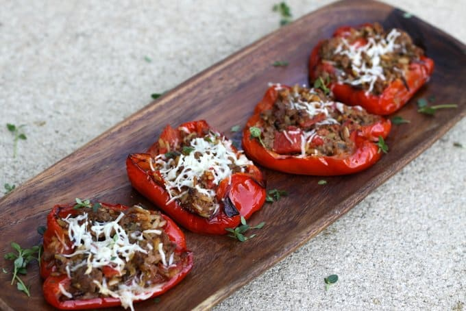 1 dinner 3 ways: stuffed peppers with beef, tomatoes & rice