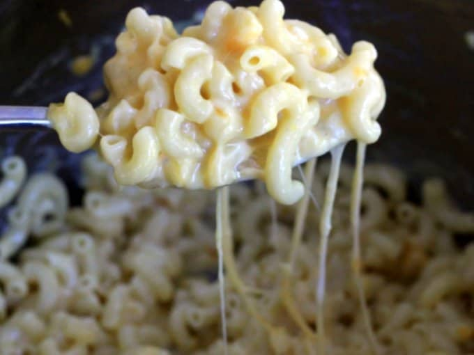 melted cheese on pasta