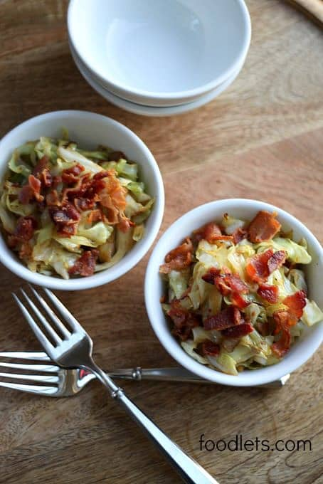Fried Cabbage with Crumbled Bacon, a Make at Nap Time Dinner