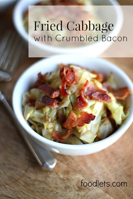 fried cabbage with crumbled bacon, text