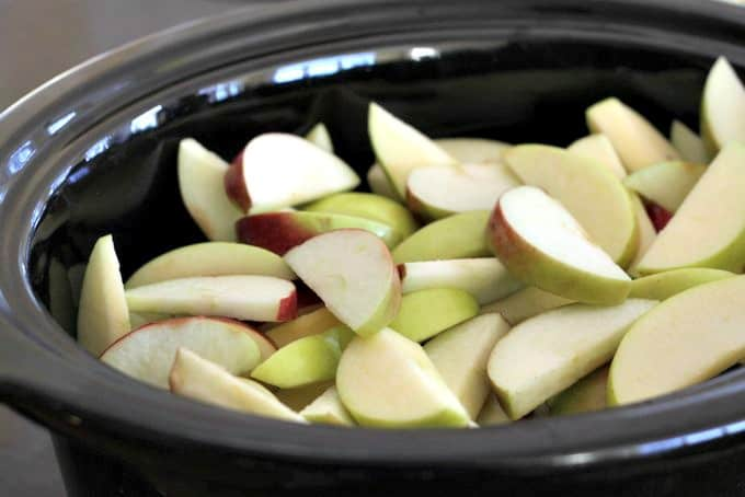 apples in pot, apple butter