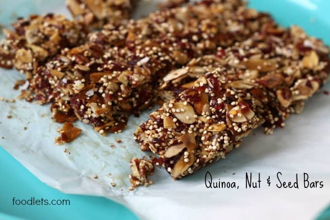 quiona nut bars, foodlets