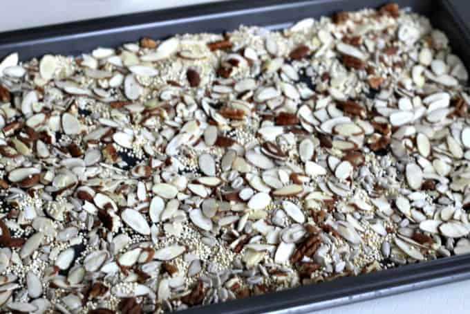 roasting nuts and quinoa