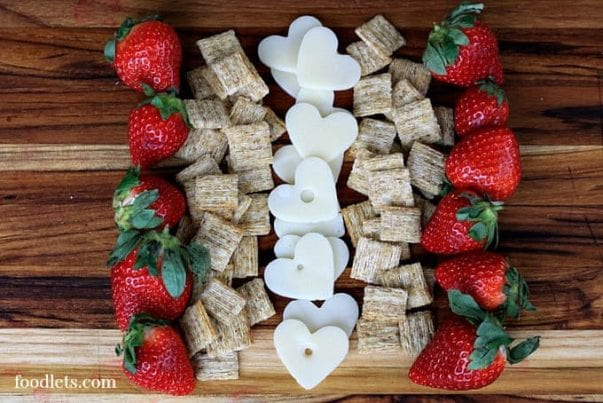 A Heart-Shaped Strawberries, Cheese & Crackers Board 3 (Easy) Ways: Healthy Valentine's Day Snacks for Kids