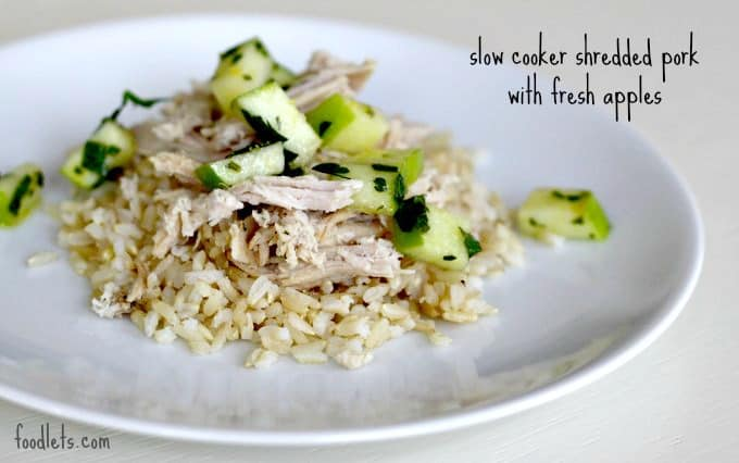 slow cooker shredded pork with fresh apples