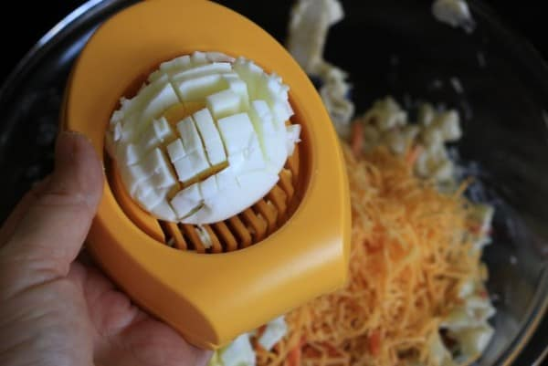 use the egg slicer twice