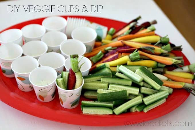 diy veggie cups and dip