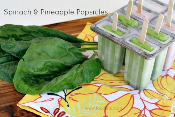 fresh spinach & pineapple popsicles, foodlets