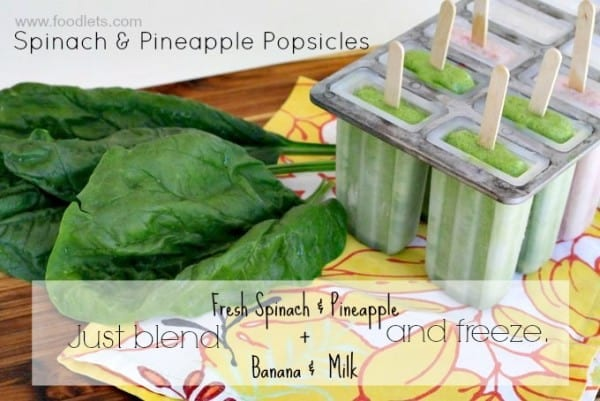 spinach & pineapple popsicles ingredients, foodlets